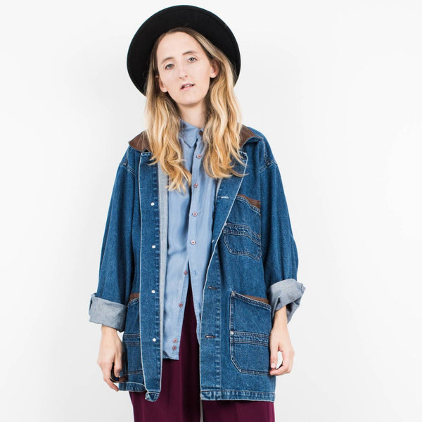 Vintage Oversized Light Denim Jacket with Leather Details / S