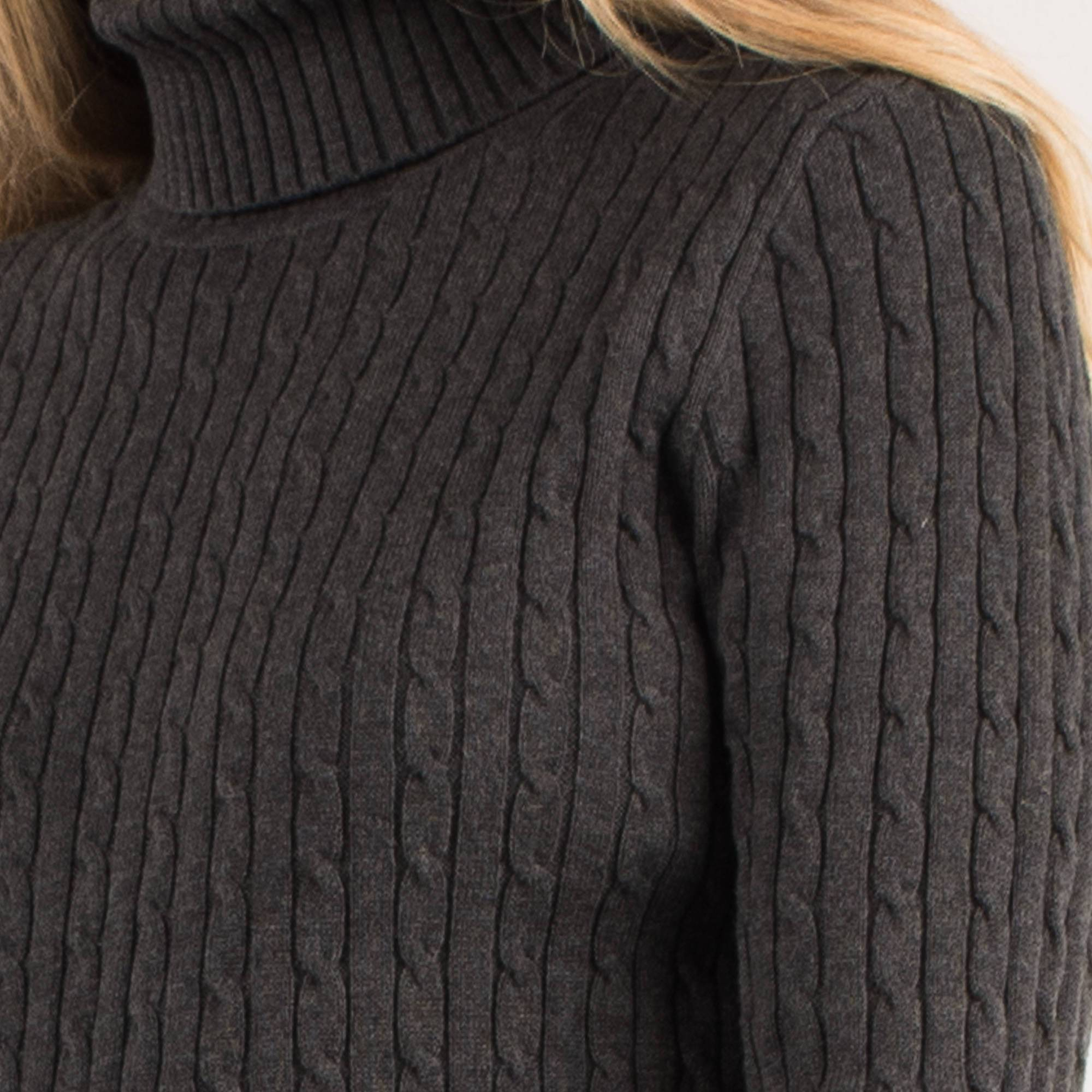 Vintage Grey Cable Knit Turtleneck Sweater / S - Closed Caption
