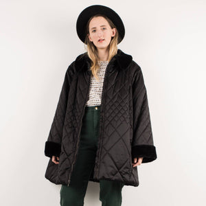 Vintage Black Quilted Oversized Jacket / S