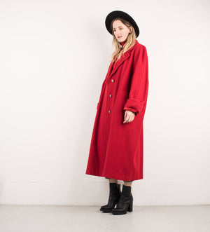 Vintage Cherry Red Oversized Wool Coat / S