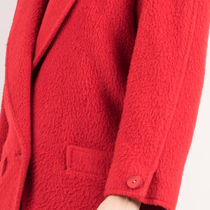 Vintage Cherry Red Teddy Bear Wool Coat / S - Closed Caption