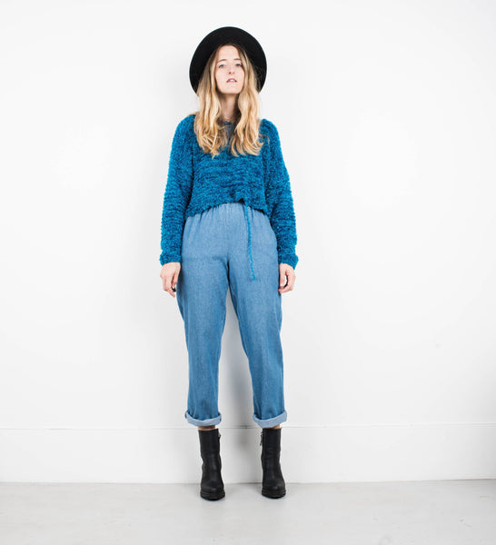 Vintage Worn Denim Elastic Waist Denim Pants / S