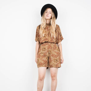 Vintage Copper Floral Shorts + Blouse Set / S