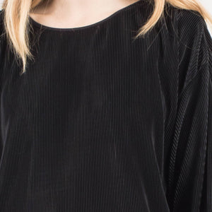 Vintage Black Micro Pleated Oversized Shirt / S - Closed Caption