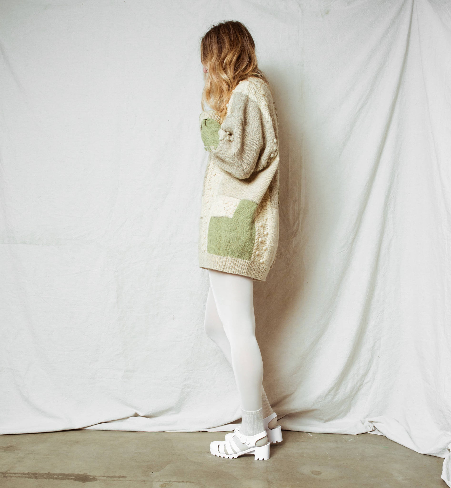 Vintage Oversized Creme Green Pom Pom Sweater Dress