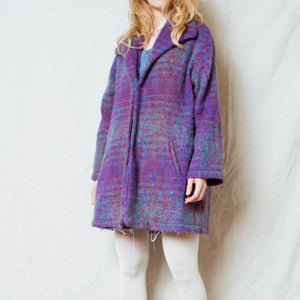 Vintage Dark Pastels Felted Wool Coat / S