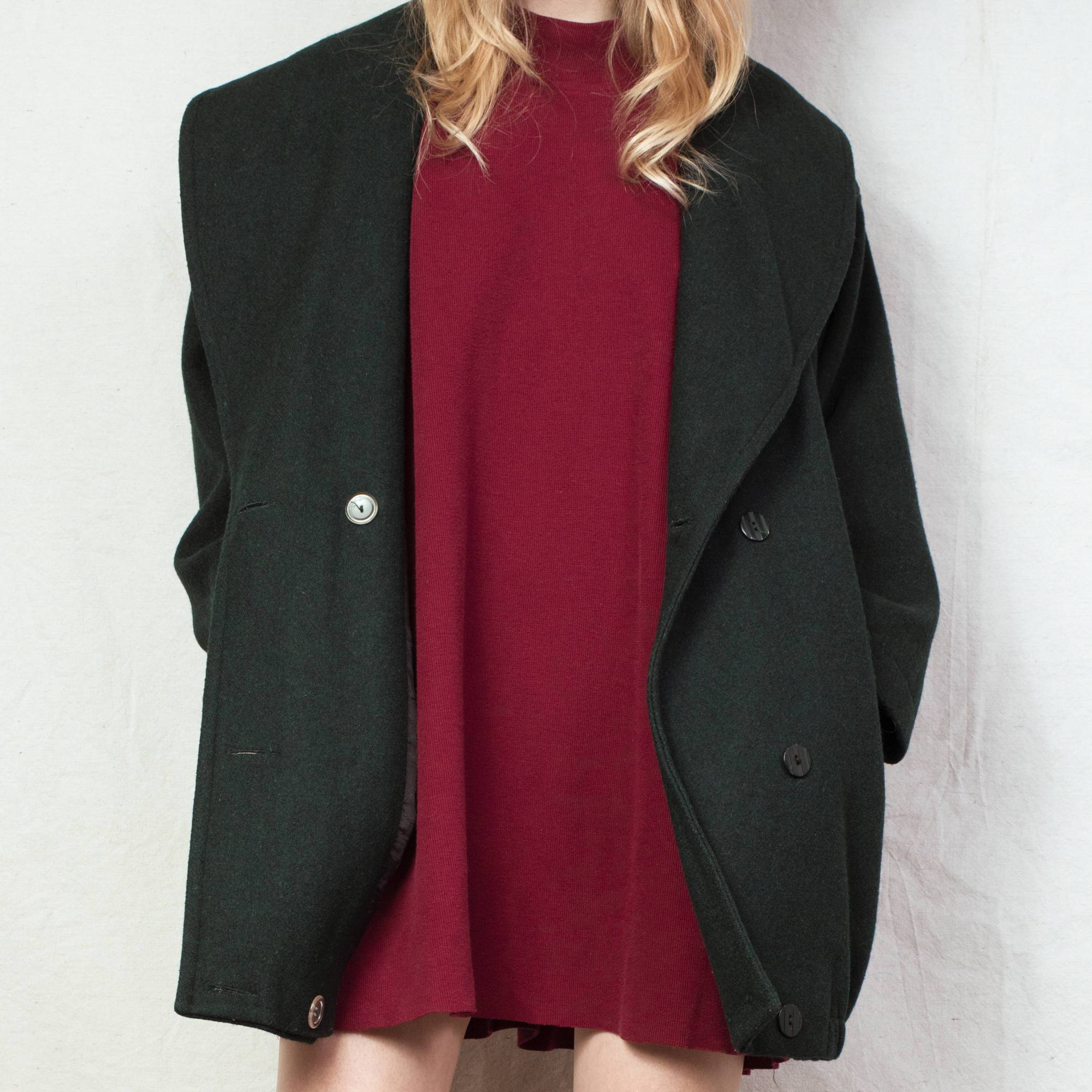 Vintage Forest Green Wool Coat / S - Closed Caption