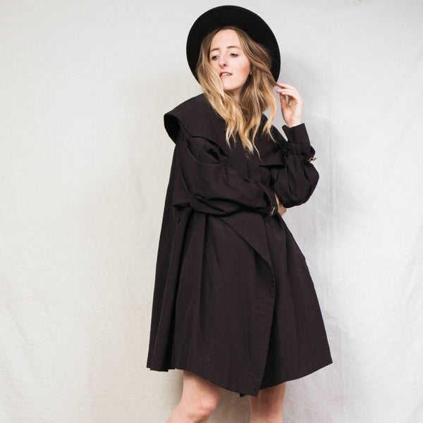 Vintage Black Oversized Swing Coat / S