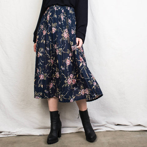 Vintage Navy Floral Sheer Skirt / M