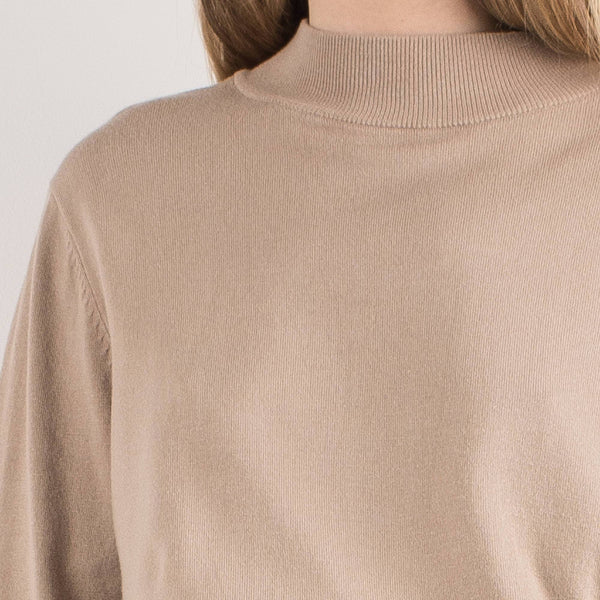Vintage Almond Knit Mock Turtleneck Sweater / S