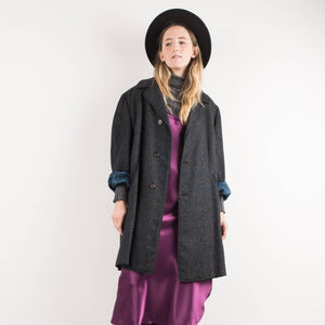 Vintage Charcoal Tweed Oversized Wool Coat Blazer / S