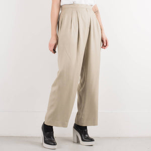 Vintage Oat Meal Patterned Wide Leg Trousers / M/L