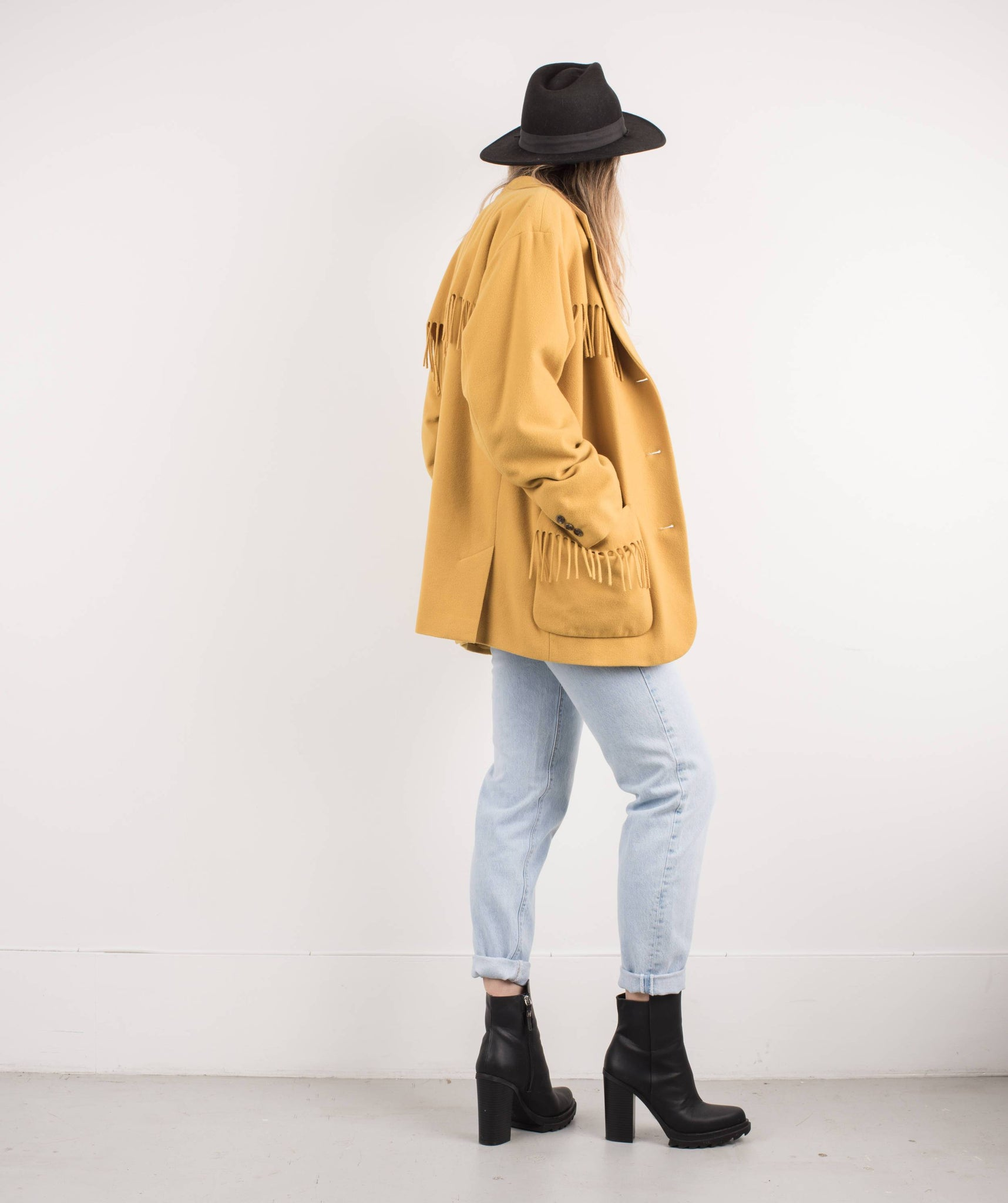 Vintage Mustard Wool and Cashmere Fringe Jacket / S - Closed Caption
