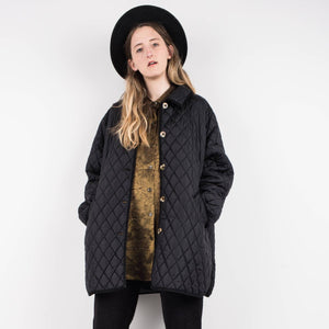 Vintage Quilted Black oversized jacket / S