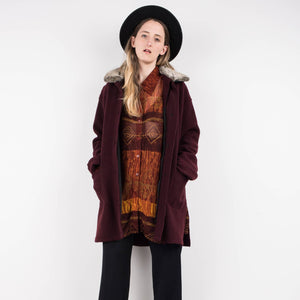 Vintage Burgundy Felted coat with detachable faux fur collar lining / S