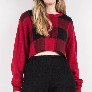 Vintage Black + Red Cropped Plaid Sweater / S - Closed Caption