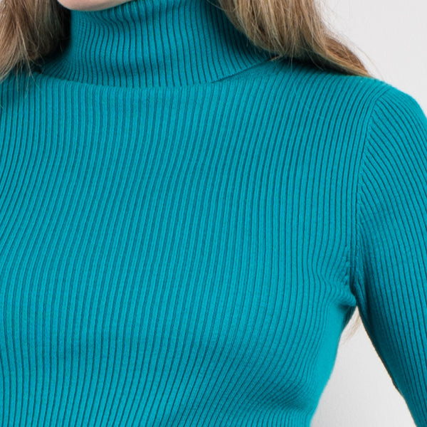 Vintage Turquoise Ribbed turtleneck sweater / S