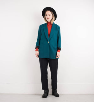 Vintage Oversized Teal Wool Blazer / S - Closed Caption