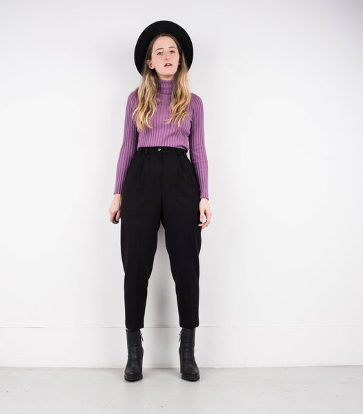 Vintage Black Wool tapered trousers / S/M