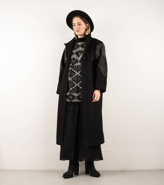Vintage Black Wool and Leather Coat / S