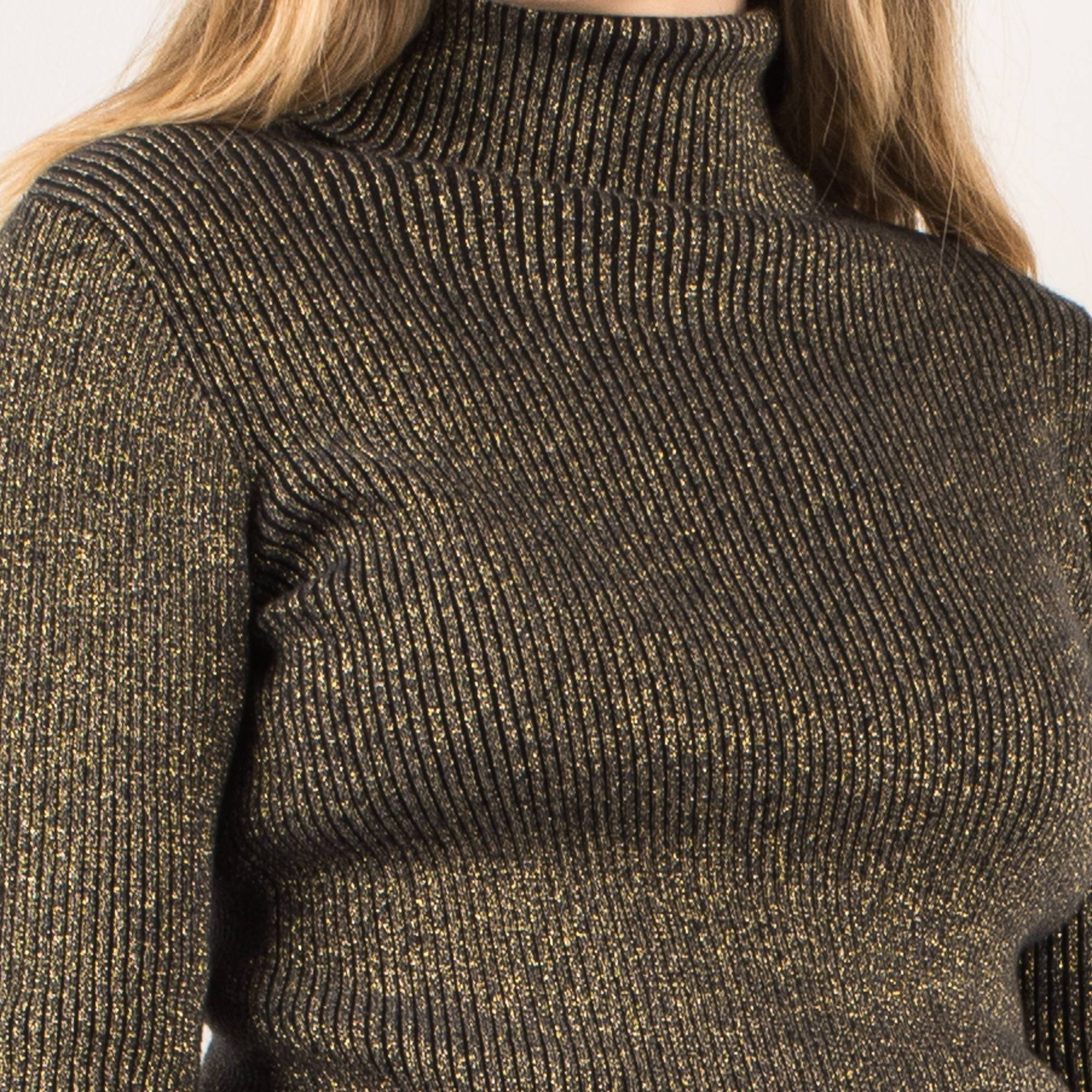 Vintage Black + Gold Glitter Ribbed Turtleneck Sweater / S - Closed Caption