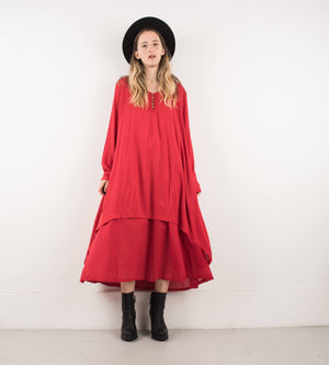 Vintage Red Double Layered Maxi Dress / S/M - Closed Caption