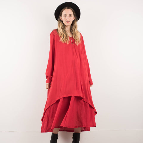 Vintage Red Double Layered Maxi Dress / S