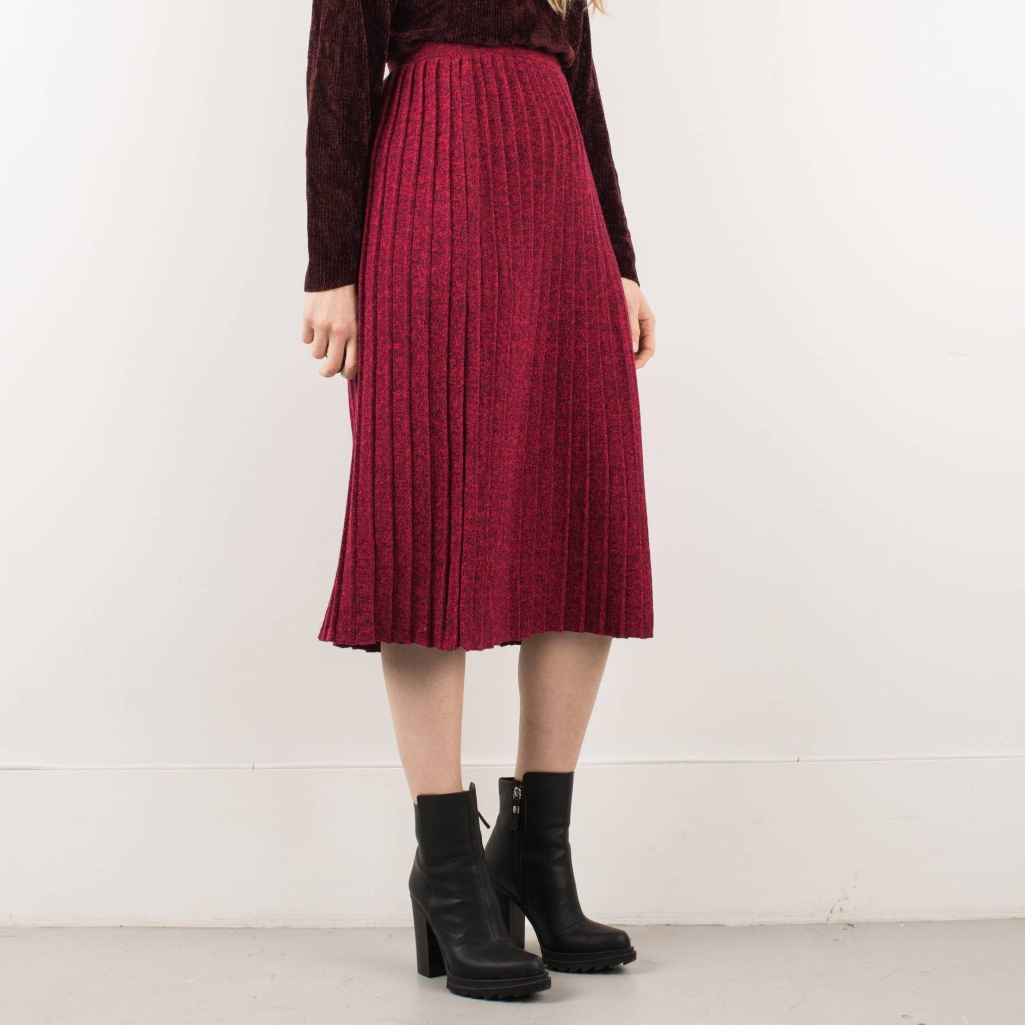 Vintage Red and Navy Pleated Knit School Girl Skirt / S