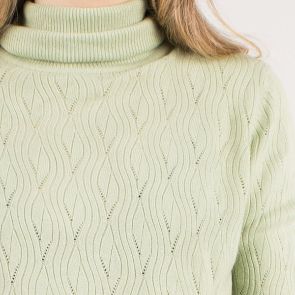 Vintage Mint Green Super Soft Knit Turtleneck Sweater / S