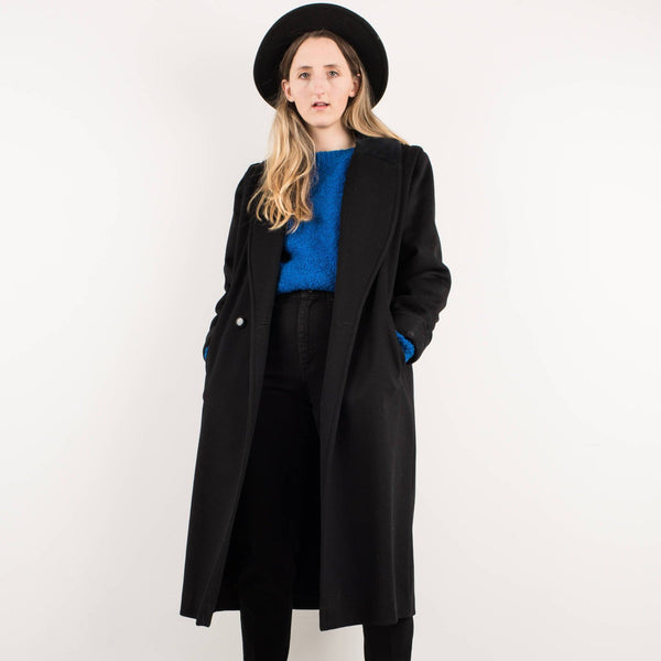Vintage Black Oversized Wool Coat / S