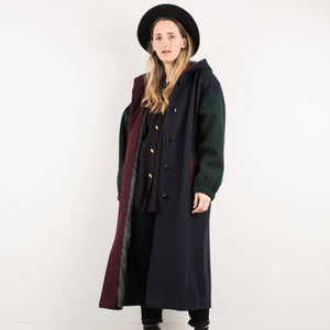 Vintage Navy Green Red Wool Coat with Hood / S