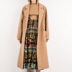 Vintage Camel Oversized Wool Coat / S