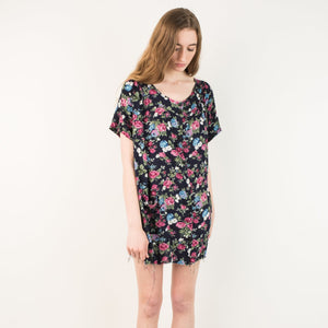 Vintage Black Floral Oversized Raw Hem Shirt Dress / S
