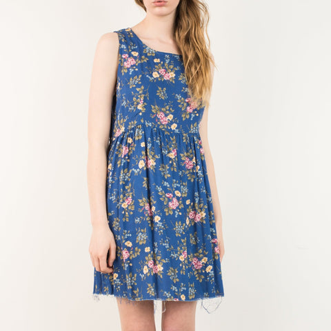 Vintage Navy Floral Oversized Raw Hem Sleeveless Dress / S