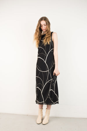 Vintage Black Abstract High Neck Sleeveless Bias Cut Maxi Dress / S - Closed Caption