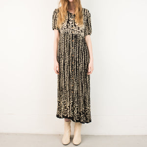 Vintage Black + White Floral Maxi Dress / S