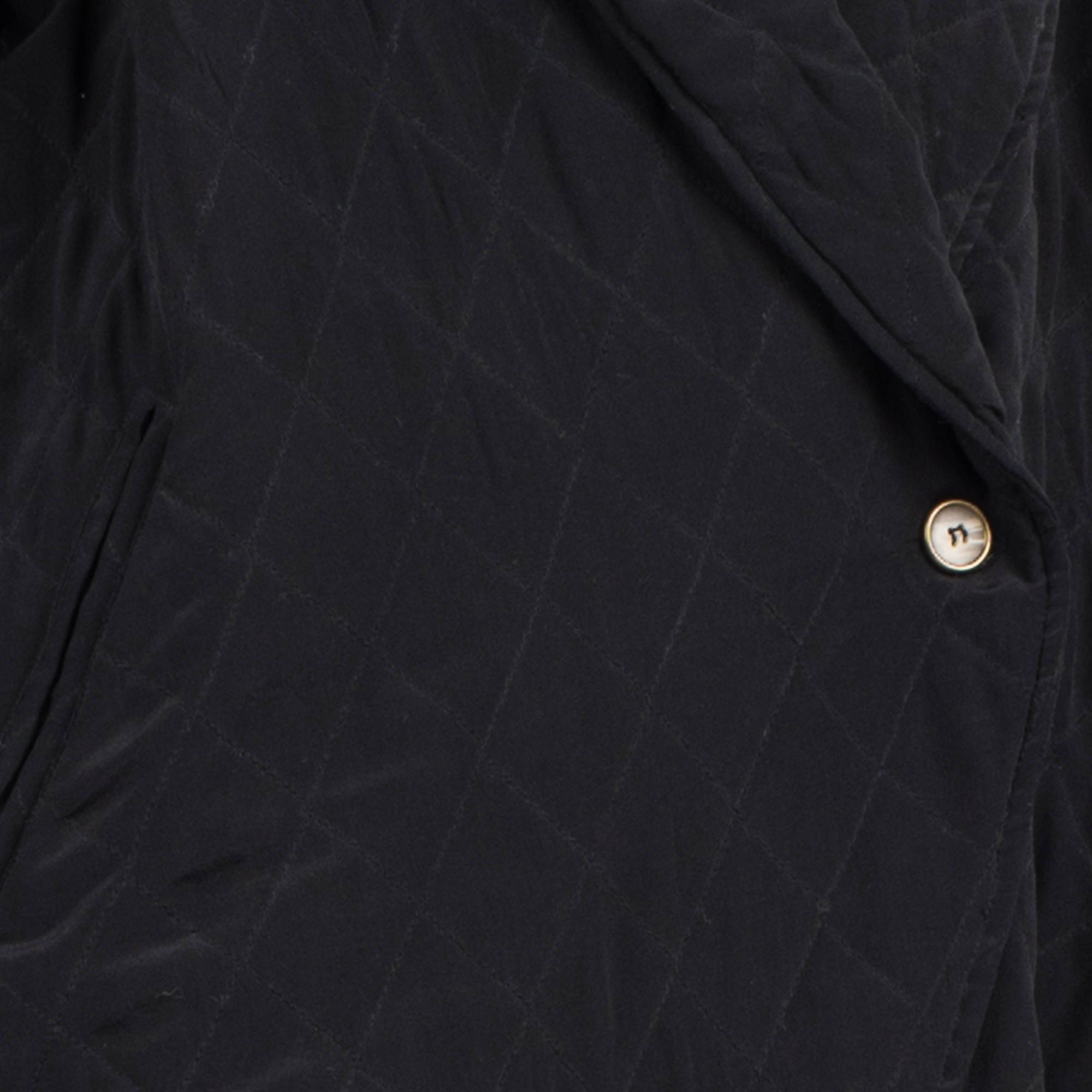 Vintage Jet Black Silk Quilted Oversized Shawl Jacket / S - Closed Caption
