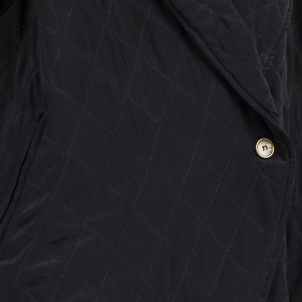Vintage Jet Silk Quilted Oversized Shawl Jacket / S