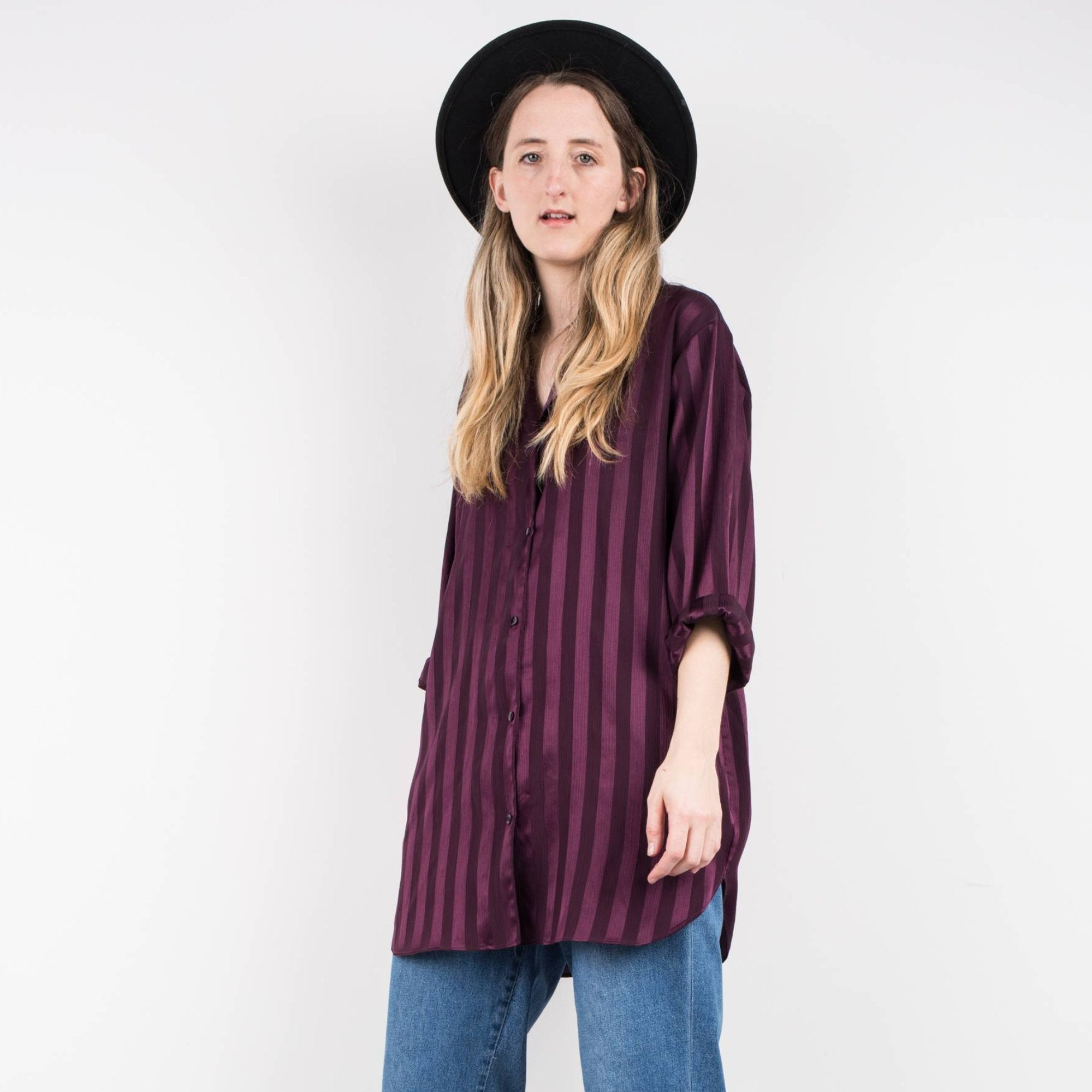 Vintage Mauve Striped oversized blouse / S
