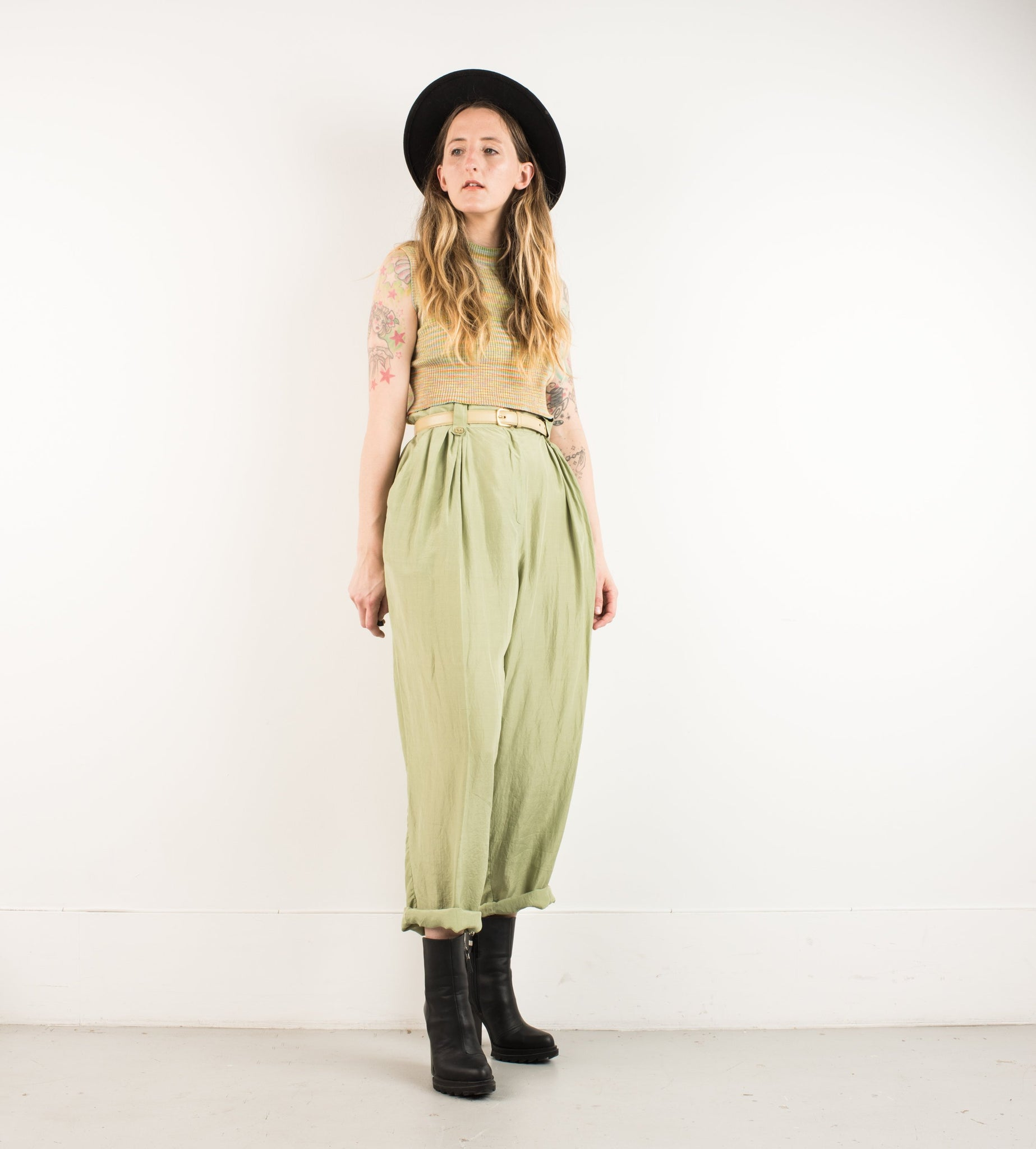 Vintage Green High Waisted Wide Leg Trousers / M/L - Closed Caption