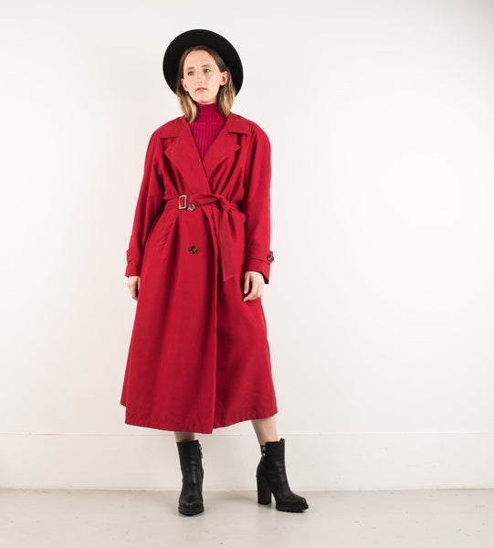 Vintage Ruby Light Weight Trench Coat / S/M