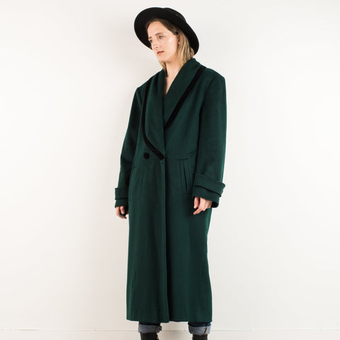 Vintage Hunter Green Wool Coat / S/M