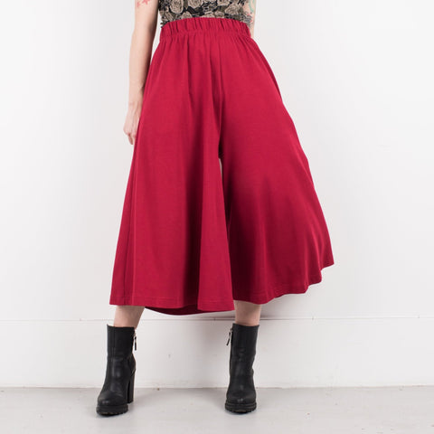 Vintage Red Palazzo Pants with Elastic Waist / S