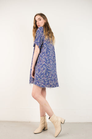Vintage Azure Floral Oversized Raw Hem Shirt Dress / S - Closed Caption