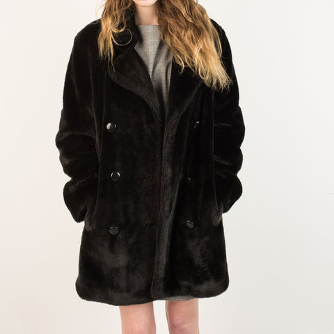Vintage Black Plush Coat / S
