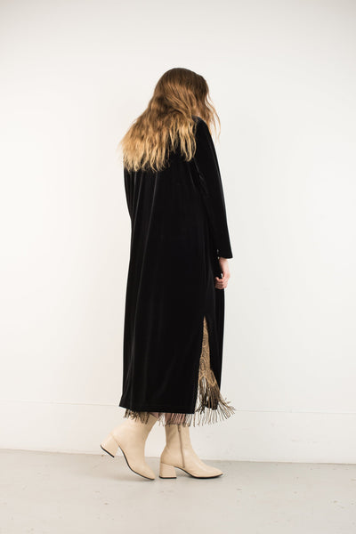 Vintage Black Velvet Oversized Cardigan Dress / S