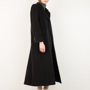 Vintage Black Cashmere Wool Coat / S