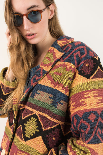 Vintage Tribal Woven Oversized Canvas Jacket / S