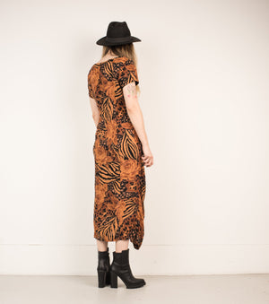 Vintage Black + Copper Floral Maxi Dress / S - Closed Caption