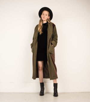 Vintage Olive Patchwork Wool Coat / S - Closed Caption